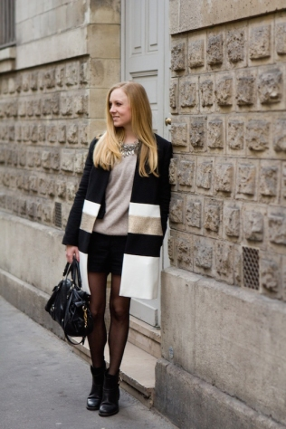 001_Black gold and white coat out in Le Marais