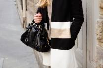 Black gold and white coat out in Le Marais